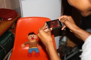 Zandile snaps a photo of Ernie